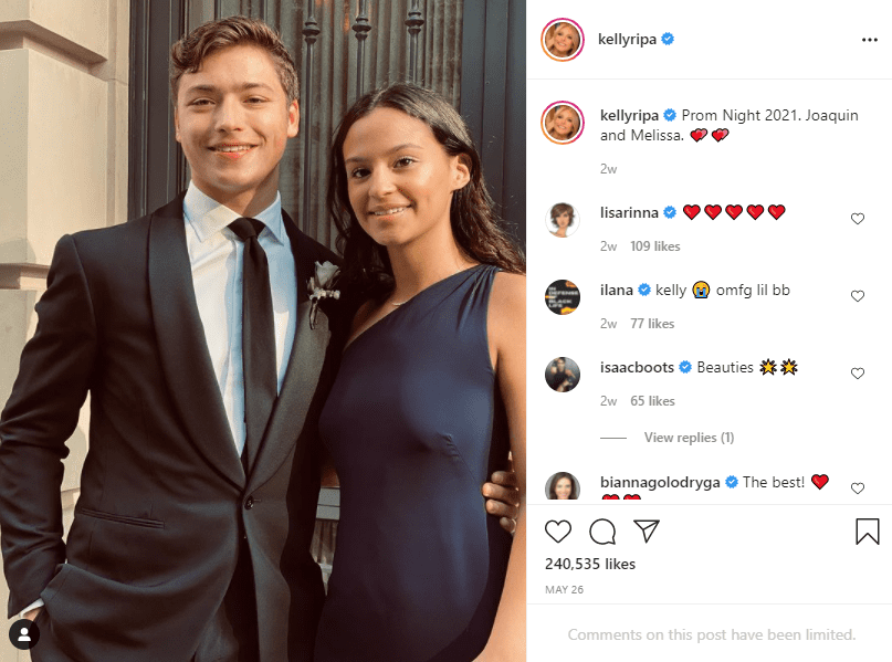 Joaquin and his date ready for prom.   Photo: Instagram/kellyripa