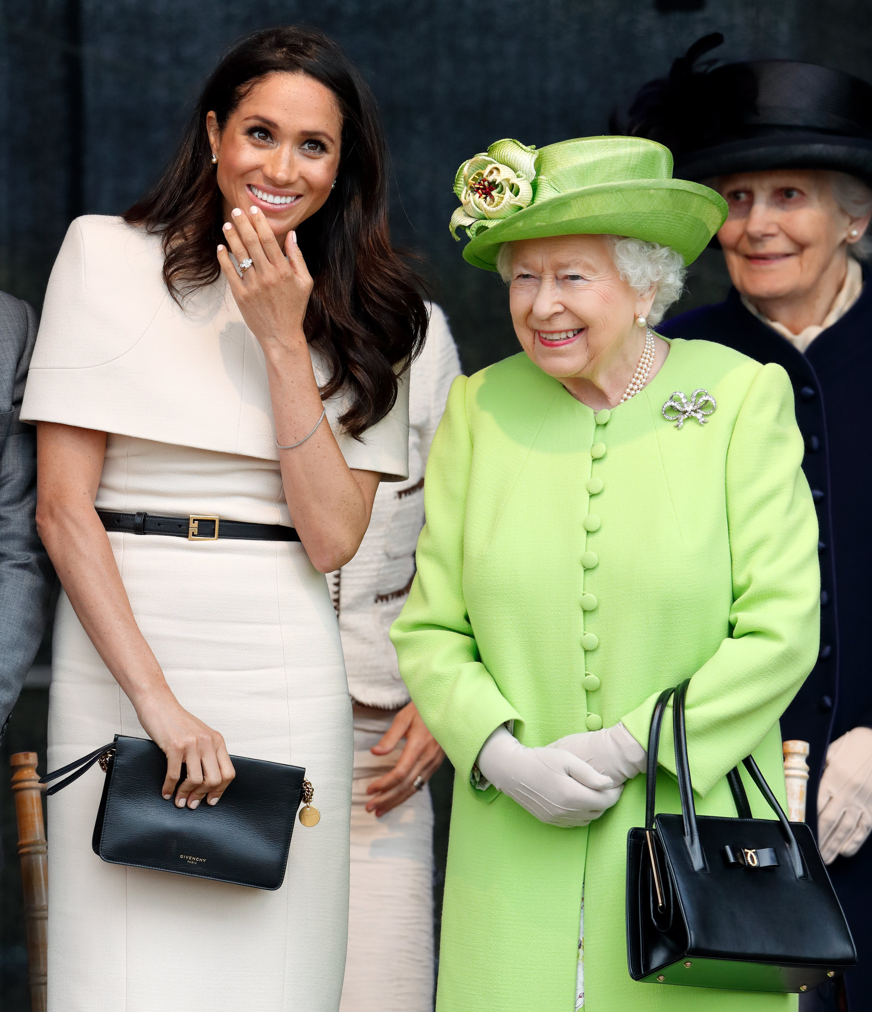 Meghan Markle and Queen Elizabeth II at a ceremony to open the new Mersey Gateway Bridge on June 14, 2018 in Widnes, England.   Source: Getty Images