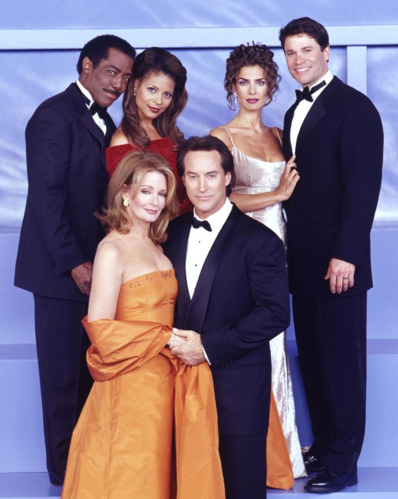 """James Reynolds, Renee Jones, Kristian Alfonso, Peter Reckell, Deidre Hall, and Drake Hogestynin a still for NBC's""""Days of Our Lives"""" onMarch 26, 2001   Photo:NBC/Getty Images"""