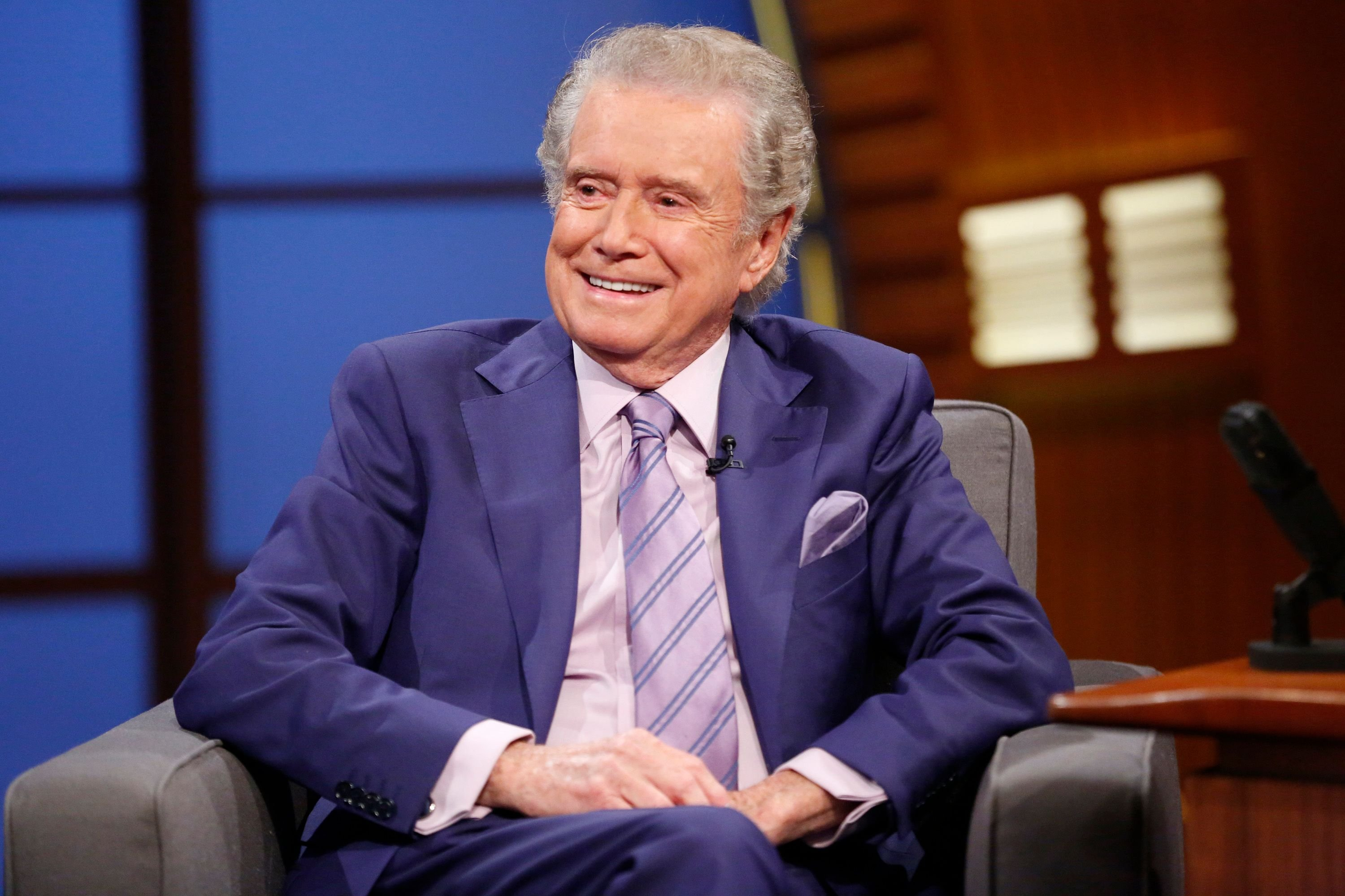 """Regis Philbin at an interview on """"Late Night with Seth Meyers"""" on July 16, 2014 