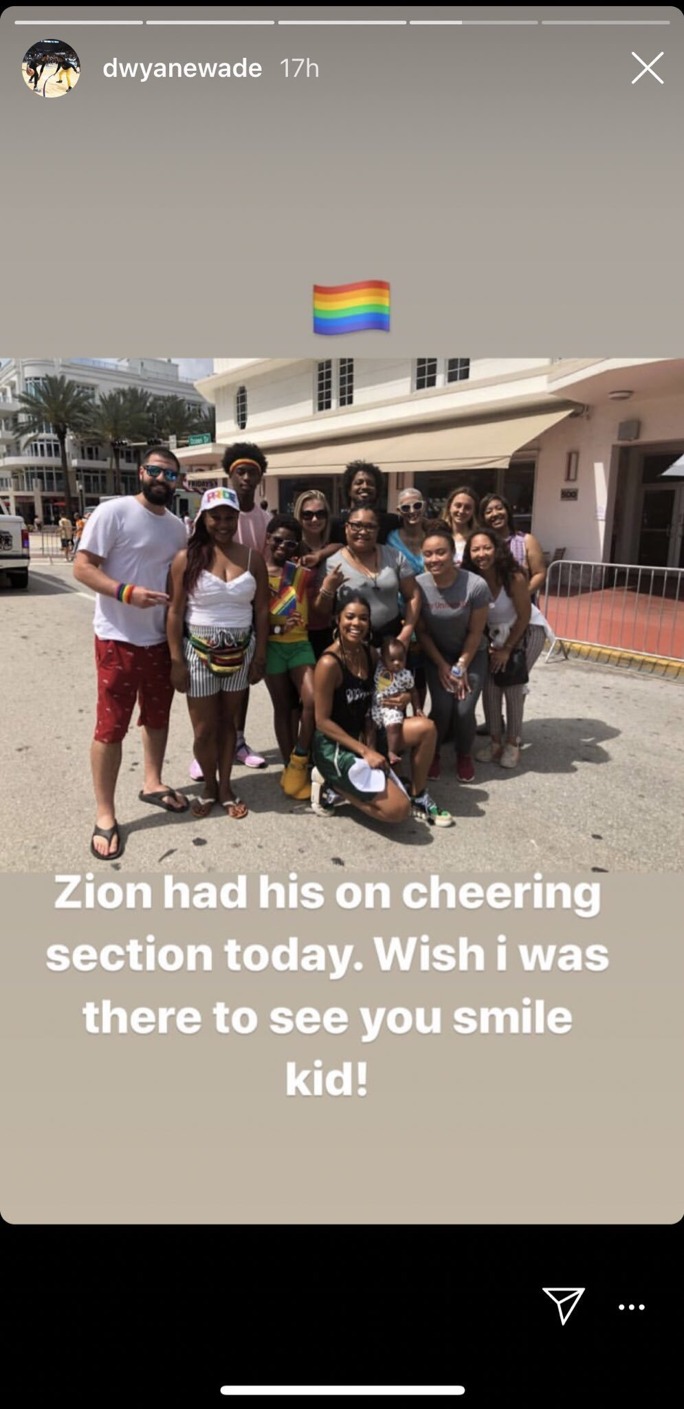 Zion Wade and his family & friends. | Source: Screenshot from Instagram story/dwyanewade
