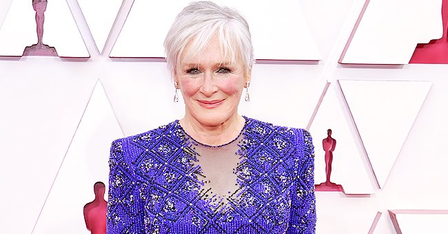 Glenn Close Looks Stunning Walking the 2021 Oscars Red Carpet Dressed in a Sparkling Blue Tunic