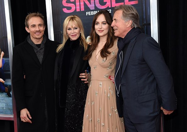 """Jesse Johnson, Melanie Griffith, Dakota Johnson, and Don Johnson attend the New York premiere of """"How To Be Single"""" at the NYU Skirball Center on February 3, 2016, in New York City. 