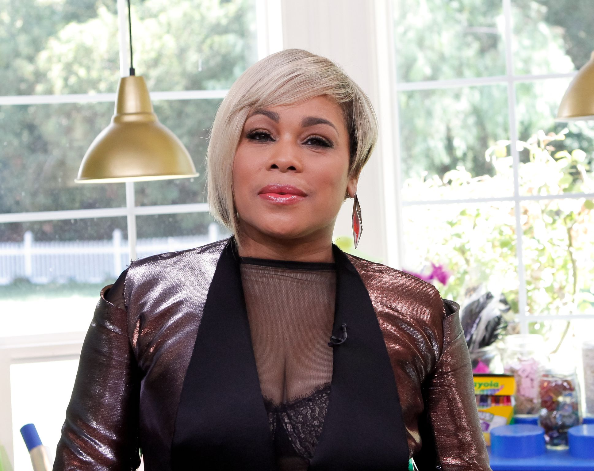 """T-Boz at the set of Hallmark's """"Home and Family"""" on September 25, 2017 in Universal City. 