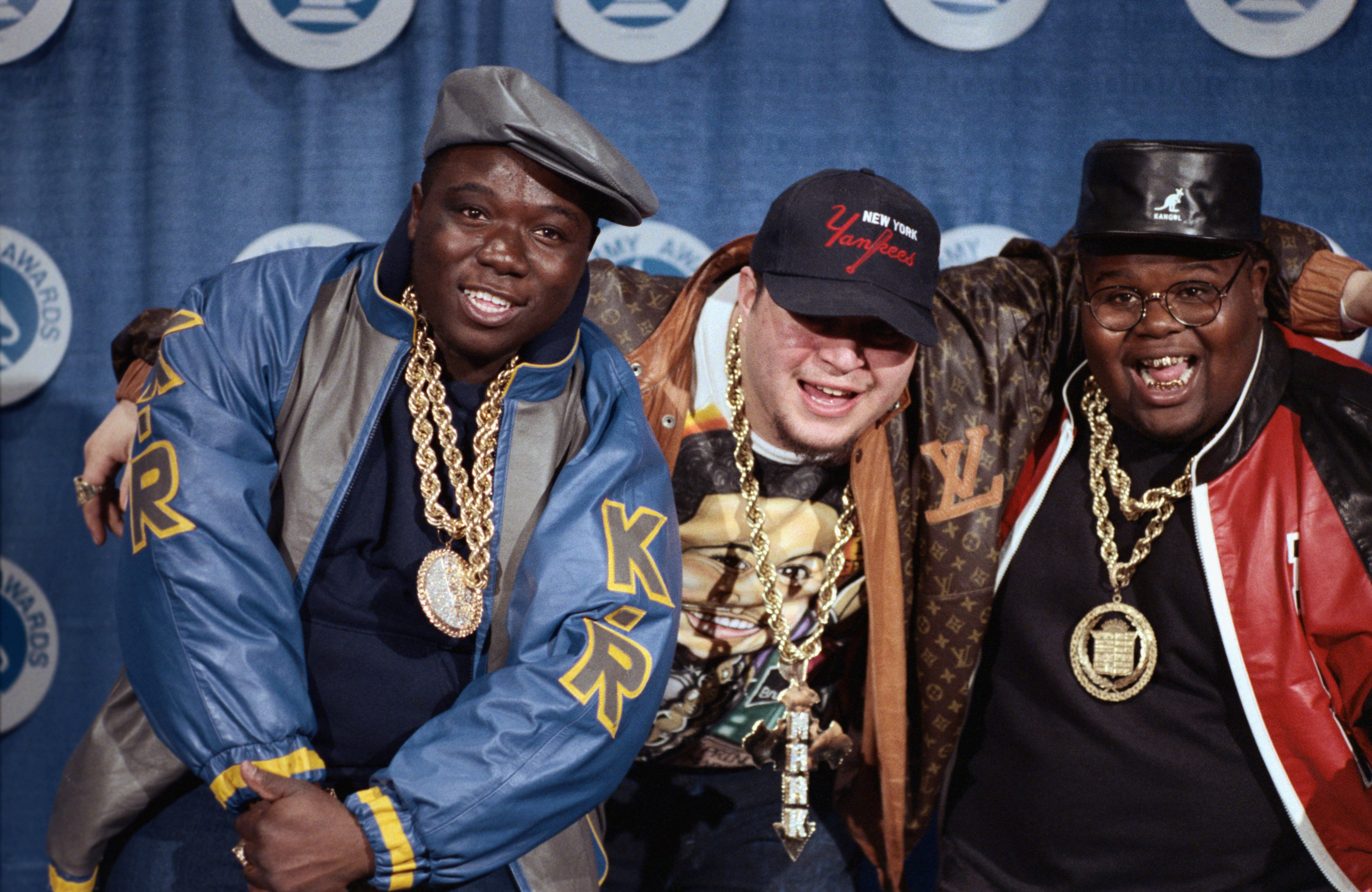 """Fat Boys"" members Damon Wimbley, Mark Anthony Morales, and Daren Robinson at the Grammy Awards, March, 1988.