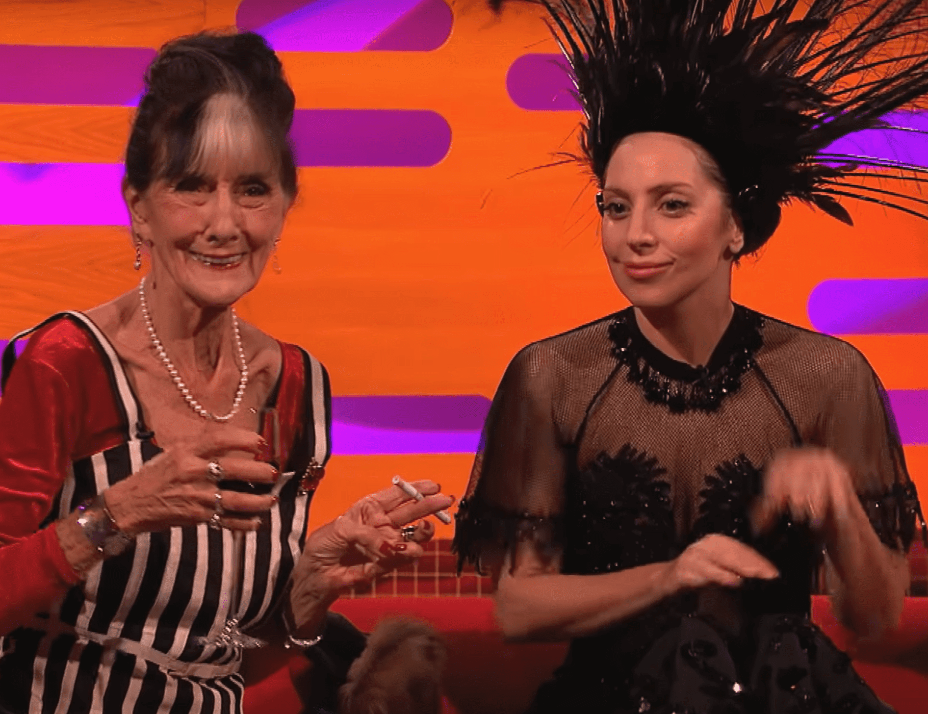 June Brown with Lady Gaga. | Source: YouTube/BBC
