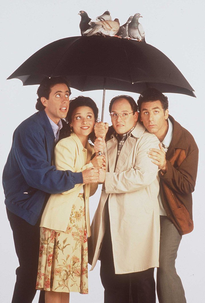 """Jerry Seinfeld, Julia Louis-Dreyfus, Jason Alexander, and Michael Richards in a promotional shot for """"Seinfeld."""" I Image: Getty Images."""