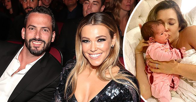 Rachel Platten and spouse Kevin Lazan attend the 2016 American Music Awards at Microsoft Theater on November 20, 2016 in Los Angeles, California (left) and Platten snuggling up to her newborn daughter Sophie (right) | Photo: Getty Images and Instagram/@rachelplatten