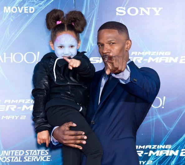 Jamie Foxx (R) and his daughter Annalise Bishop attend 'The Amazing Spider-Man 2' premiere in New York City.| Photo: Getty Images.