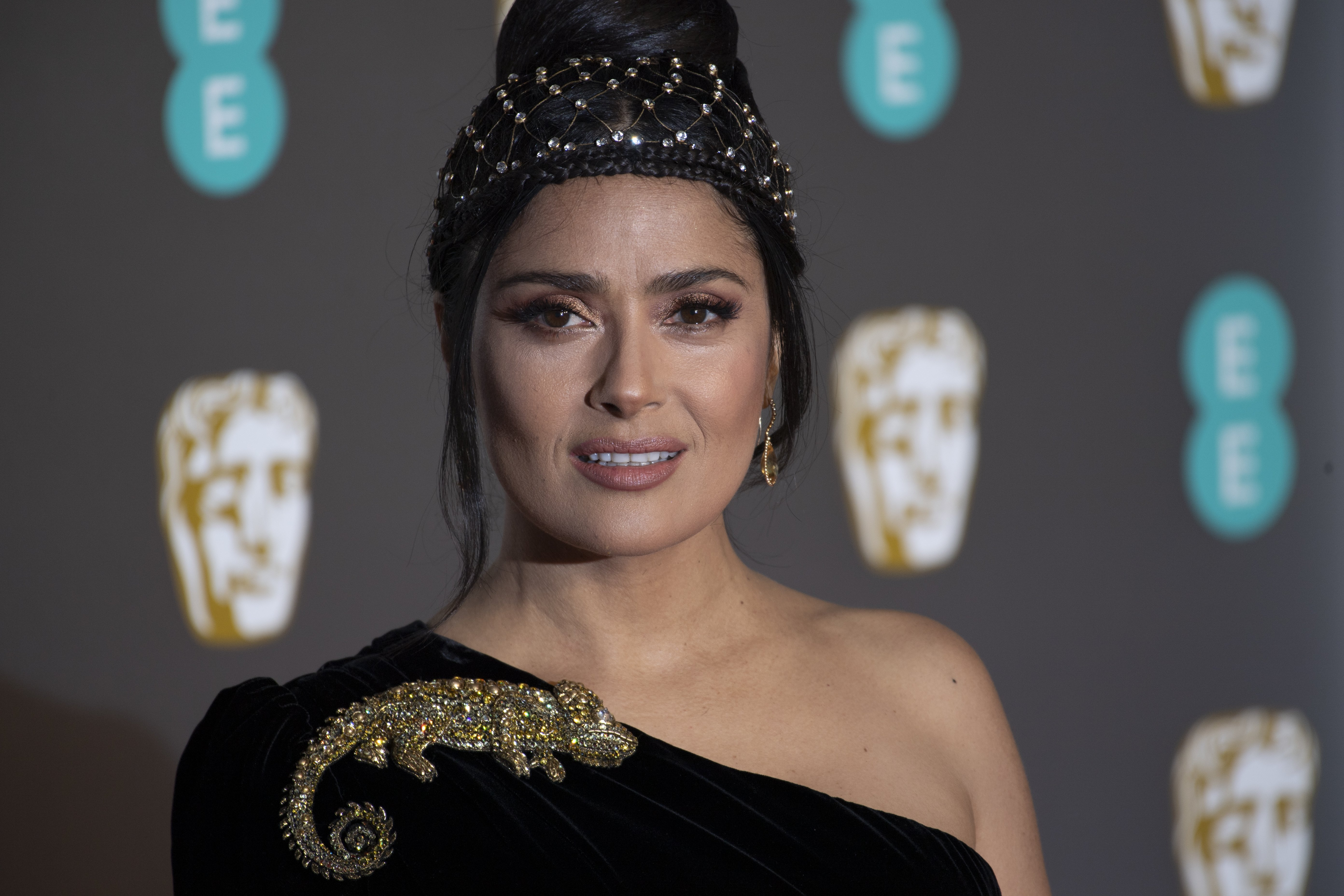 Salma Hayek attends the British Academy Film Awards on February 10, 2019, in London, England. | Source: Getty Images.
