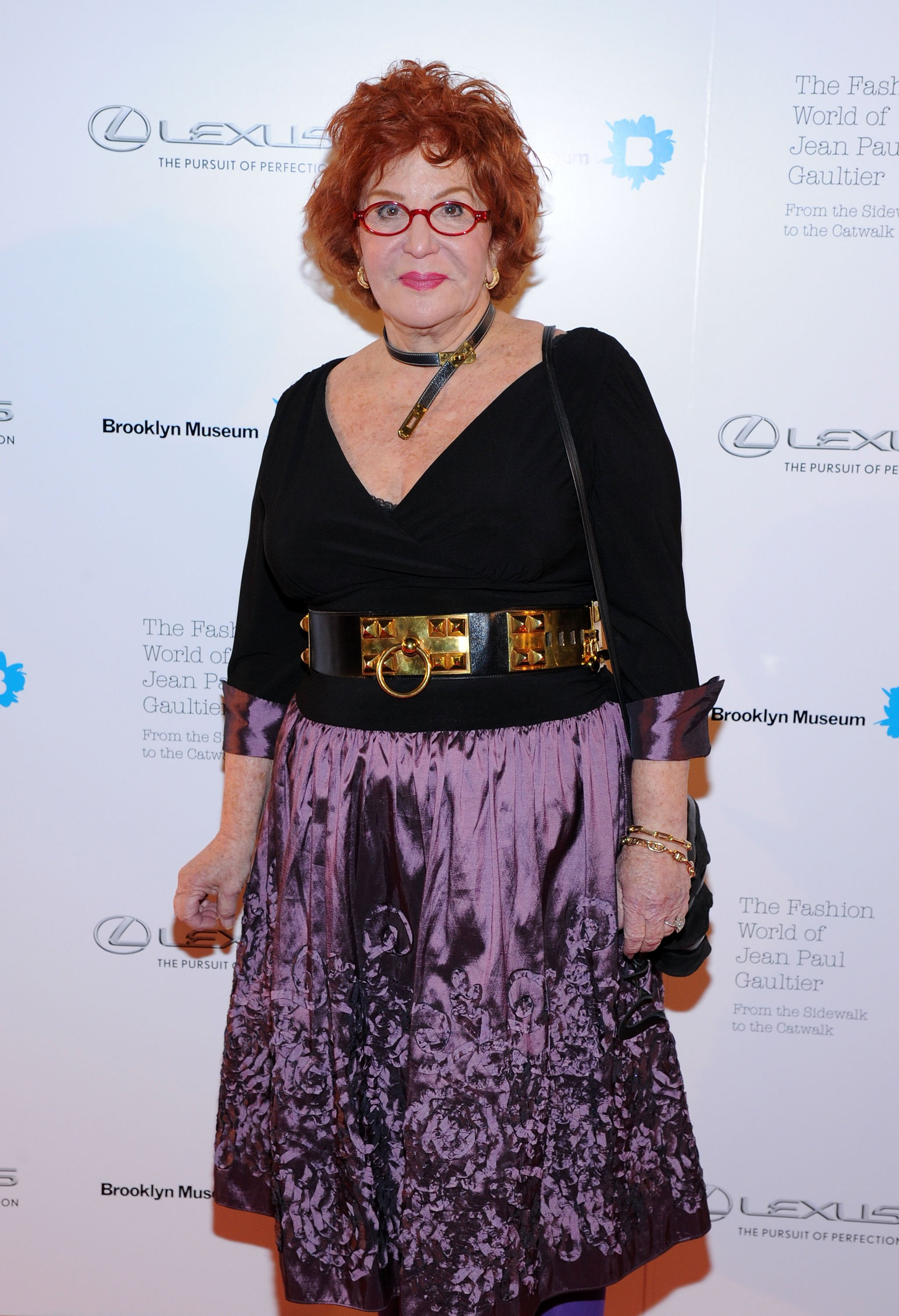 Sally Jesse Raphael attends the VIP reception  for The Fashion World of Jean Paul Gaultier: From the Sidewalk to the Catwalk on October 23, 2013, in New York City.   Source: Getty Images.