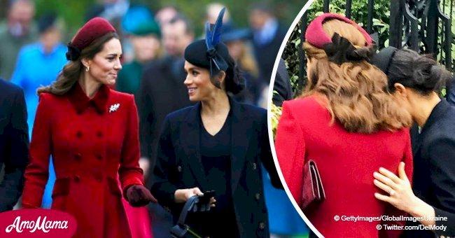 Meghan Markle le da palmada en espalda a Kate Middleton en video viral entre rumores de pleito
