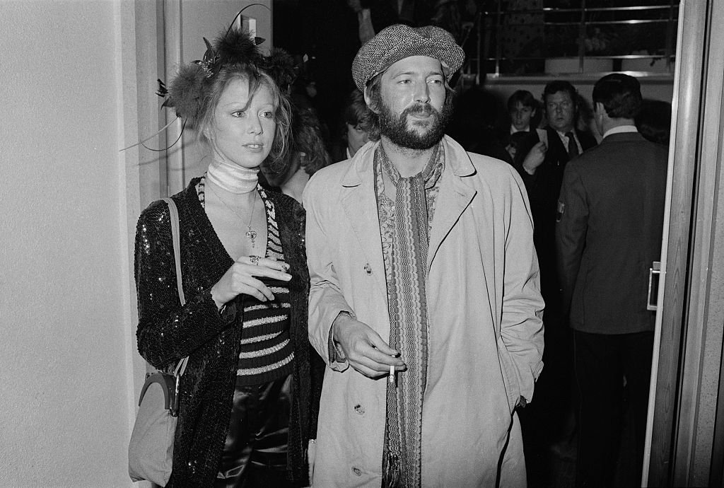 """Eric Clapton and his girlfriend, Pattie Boyd, at the premiere of Ken Russell's film version of The Who's rock opera """"Tommy."""" 