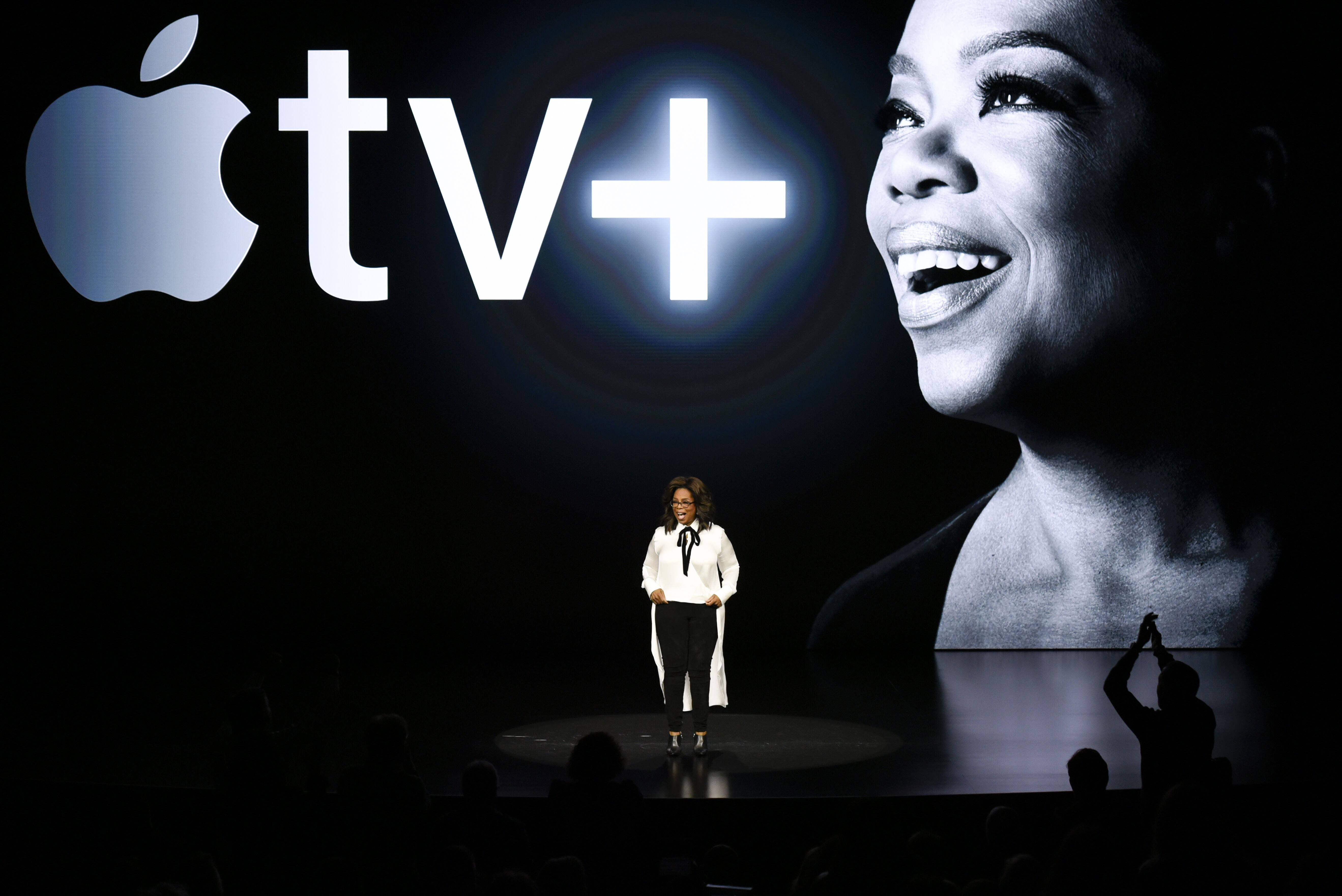 Oprah Winfrey announces collaboration with at Apple TV+ in Cupertino, California in 2019/ Source: Getty Images