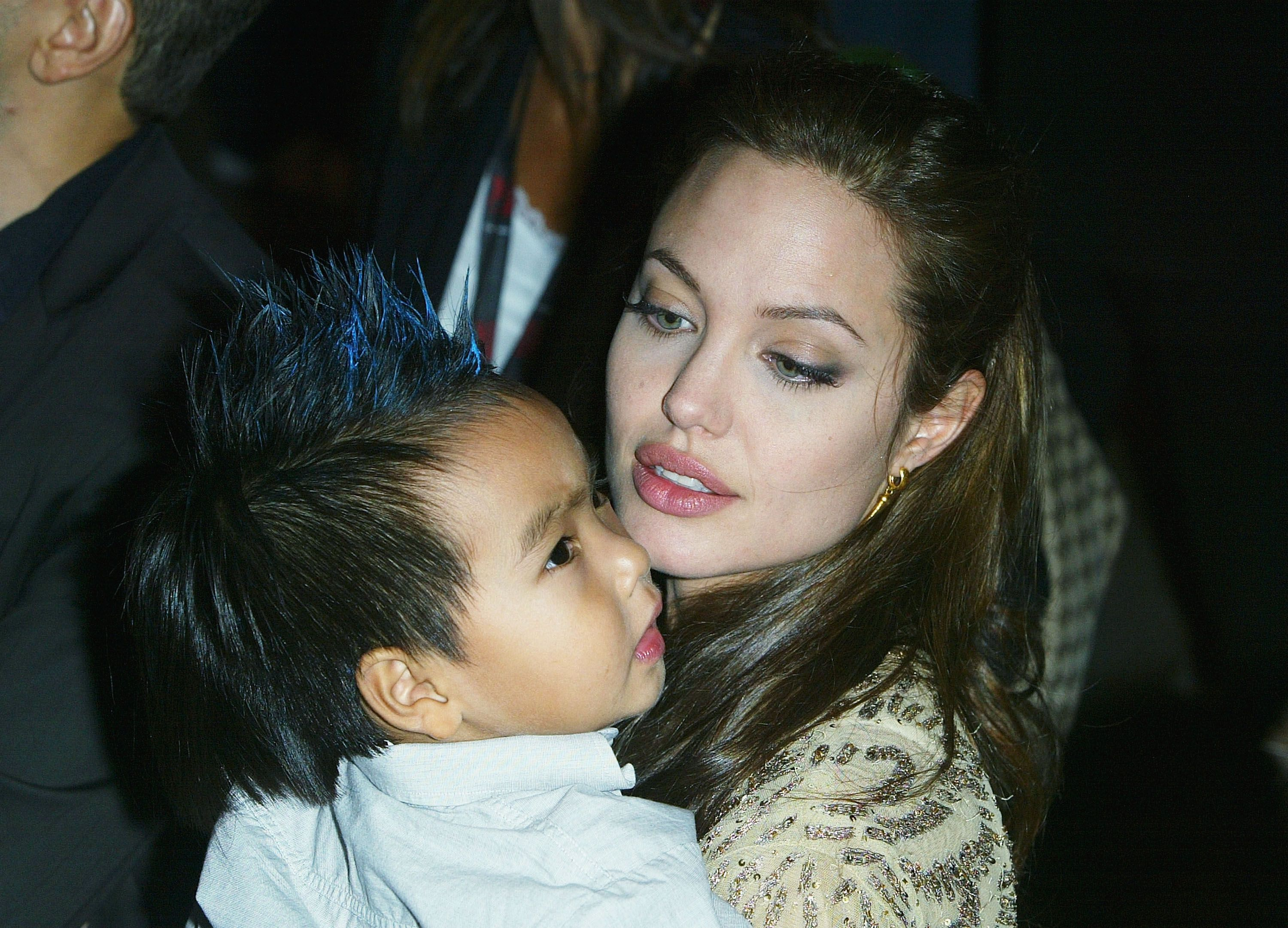 """Angelina Jolie and her son Maddox at the World Premiere of """"Shark Tale"""" in Venice in 2004 