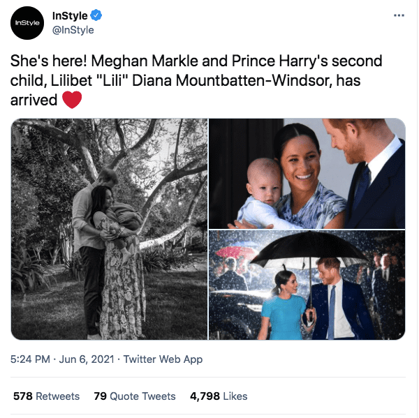 A screenshot of Meghan Markle, Prince Harry and their children | Photo: twitter.com/InStyle