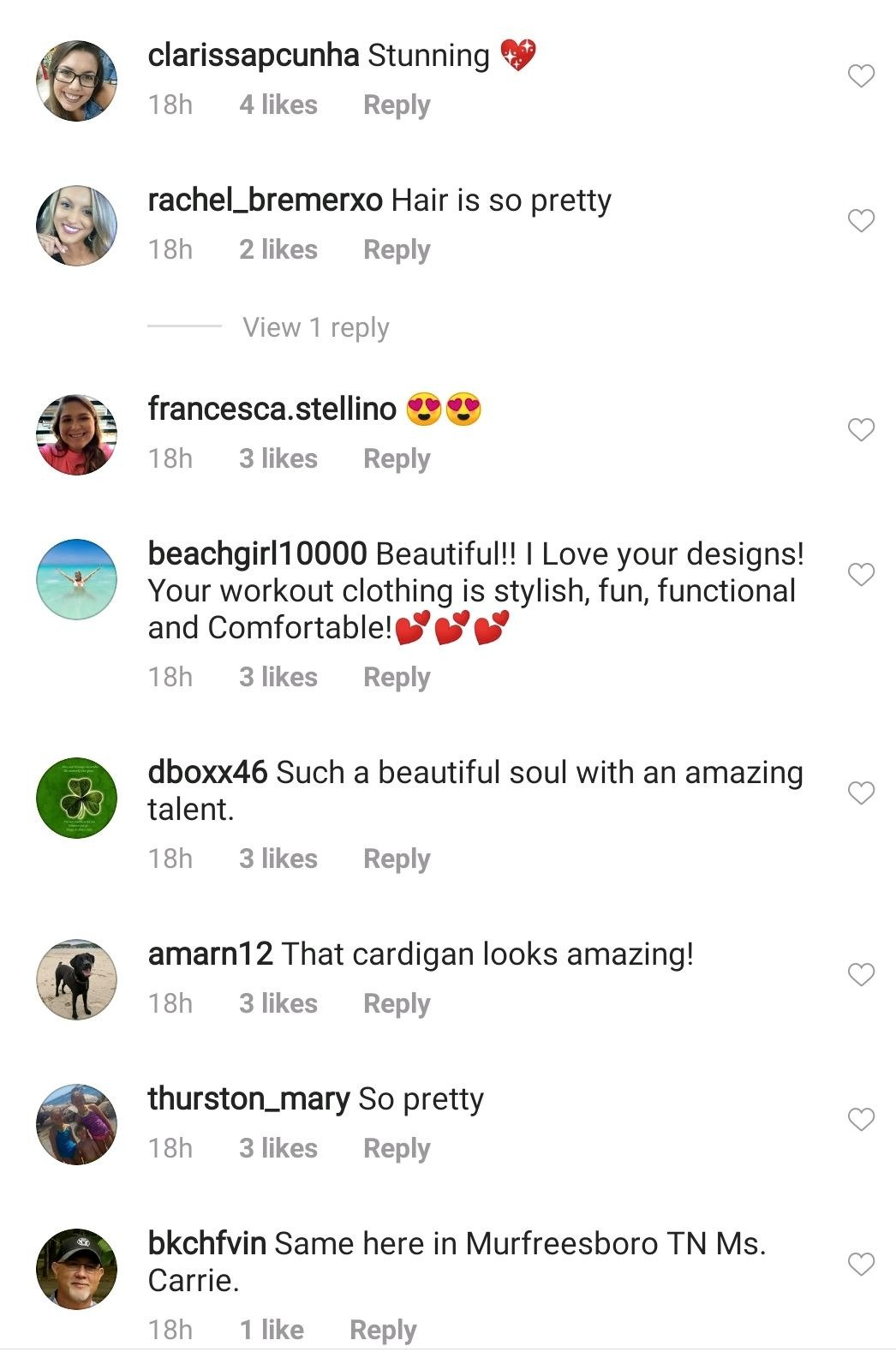 A fans' comment on Carrie Underwood's post | Photo: Instagram/carrieunderwood