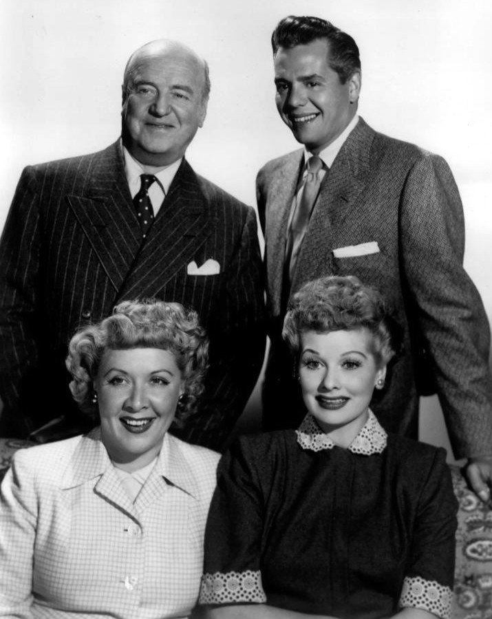 "Publicity photo of the ""I Love Lucy"" cast: William Frawley, Desi Arnaz, Vivian Vance, and Lucille Ball 
