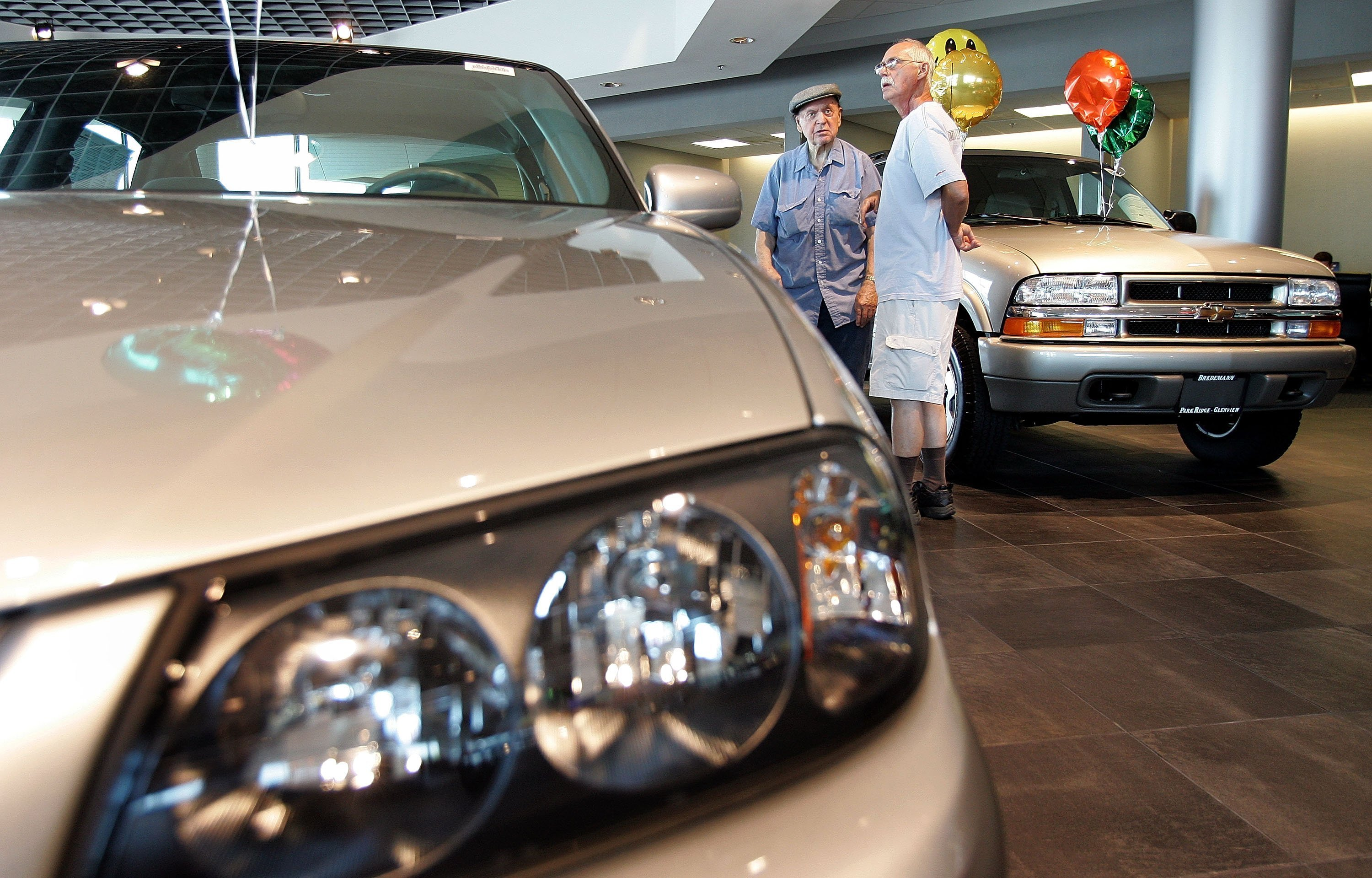 New vehicles in the showroom at Bredemann Chevrolet August 2, 2005 | Photos: Getty Images