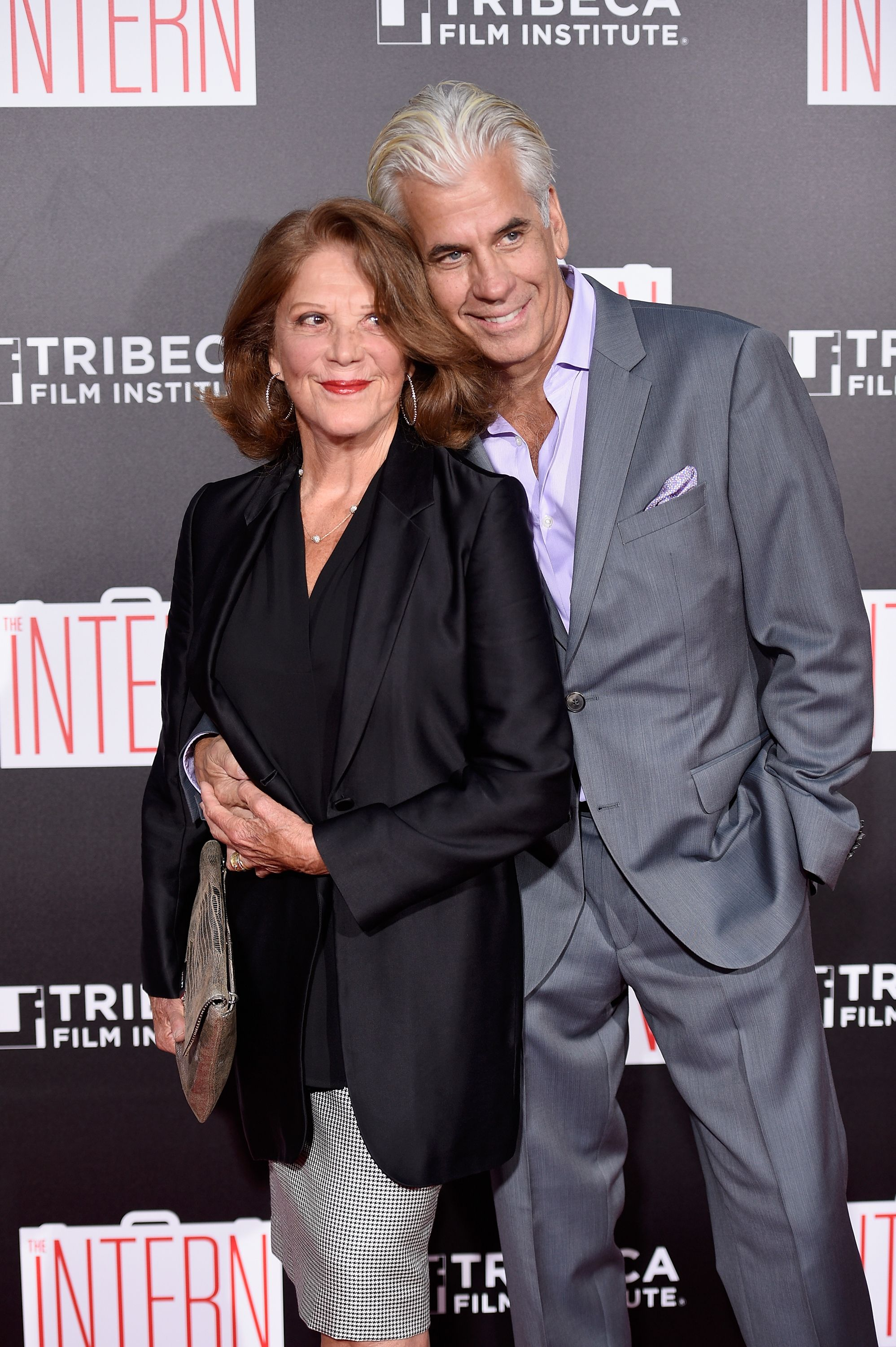 "Linda Lavin and Steve Bakunas at New York premiere of ""The Intern"" in 2015 