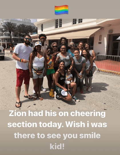 Zion and his support team. | Source: Dwyane Wade Instagram Story
