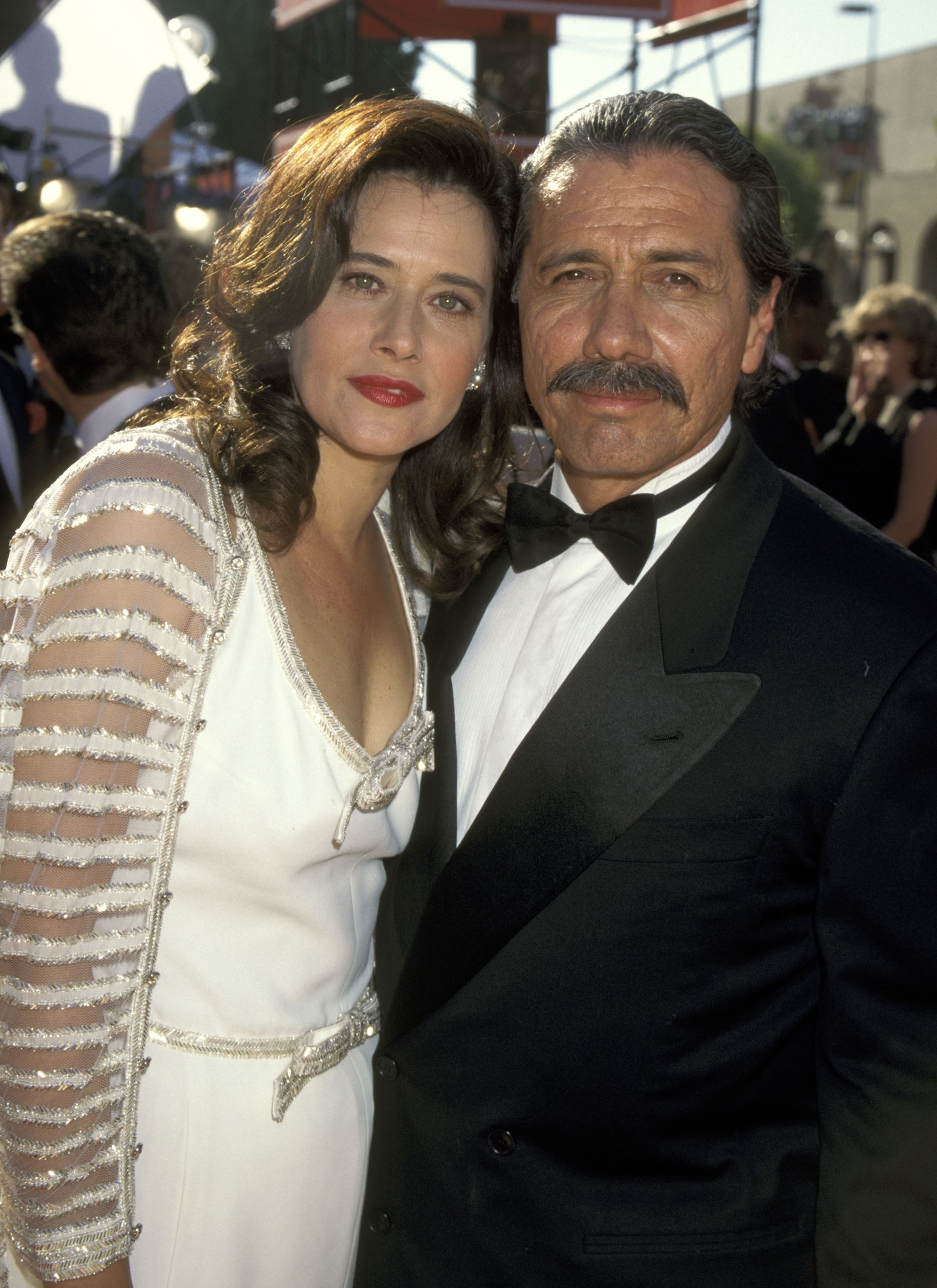 Lorraine Bracco and Edward James Olmos at the 47th Annual Primetime Emmy Awards in 1995 in Pasadena   Source: Getty Images