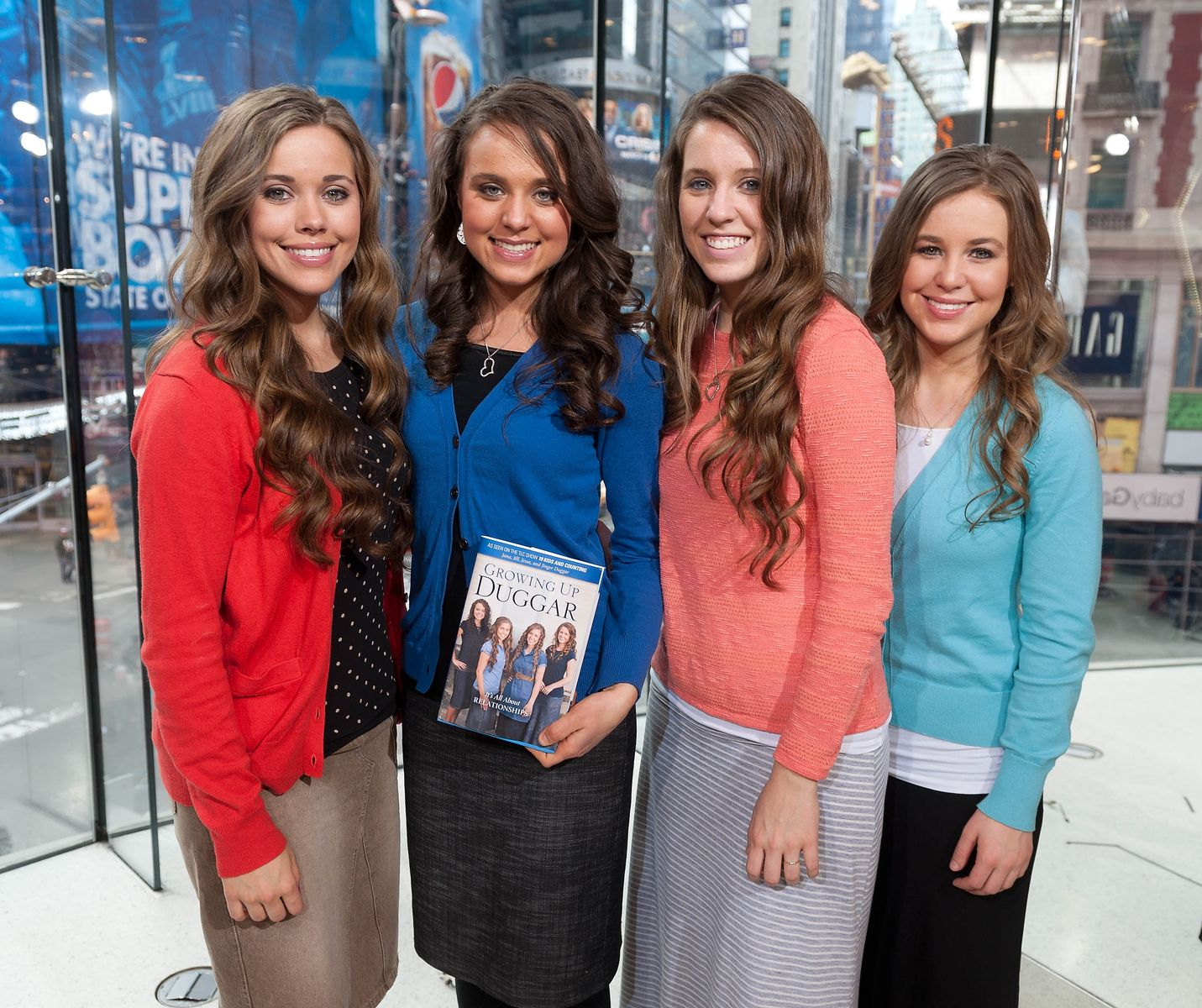 "Jessa, Jinger, Jill, and Jana Duggar visit ""Extra"" at their New York studios on March 11, 2014, in New York City 
