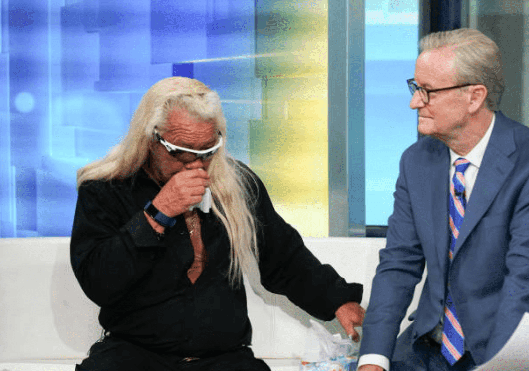 "Duane Chapman wipes away tears as he sits down for an interview on ""FOX & Friends"" on August 28, 2019, New York City 