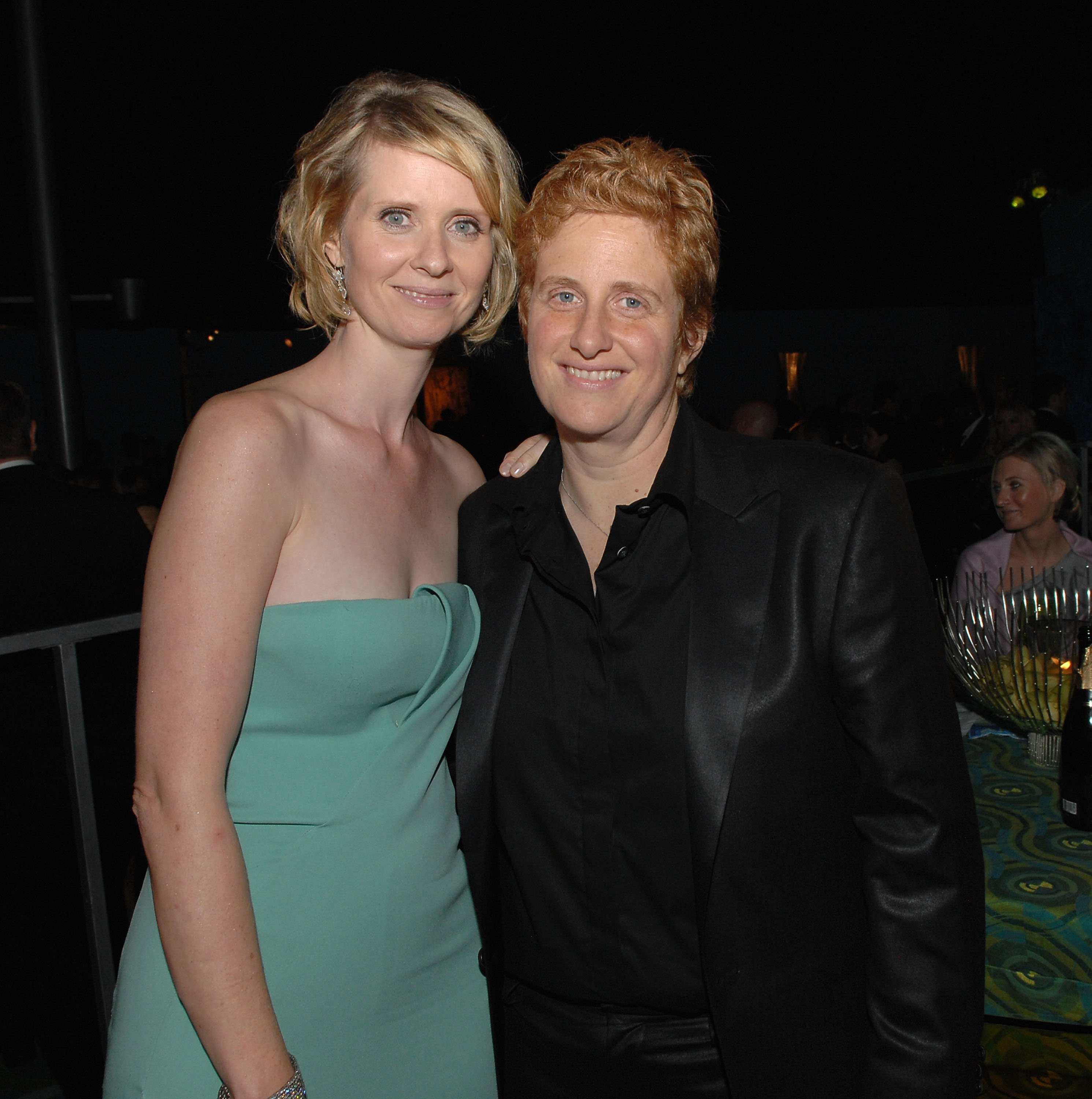 Cynthia Nixon (L) and partner Christine Mariononi attend HBO's Post Primetime Emmy Awards Reception at the Pacific Design Center on September 21, 2008, in Los Angeles, California.   Source: Getty Images.
