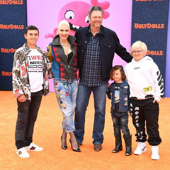 "Kingston Rossdale, Gwen Stefani, Blake Shelton, Apollo Rossdale, and Zuma Rossdale at the STX Films World Premiere Of ""UglyDolls"" at Regal Cinemas L.A. Live 