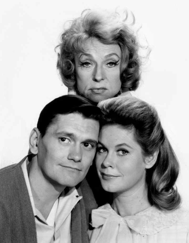 "Publicity photo for ""Bewitched"" showing Dick York, Agnes Moorehead, and Elizabeth Montgomery circa 1964 