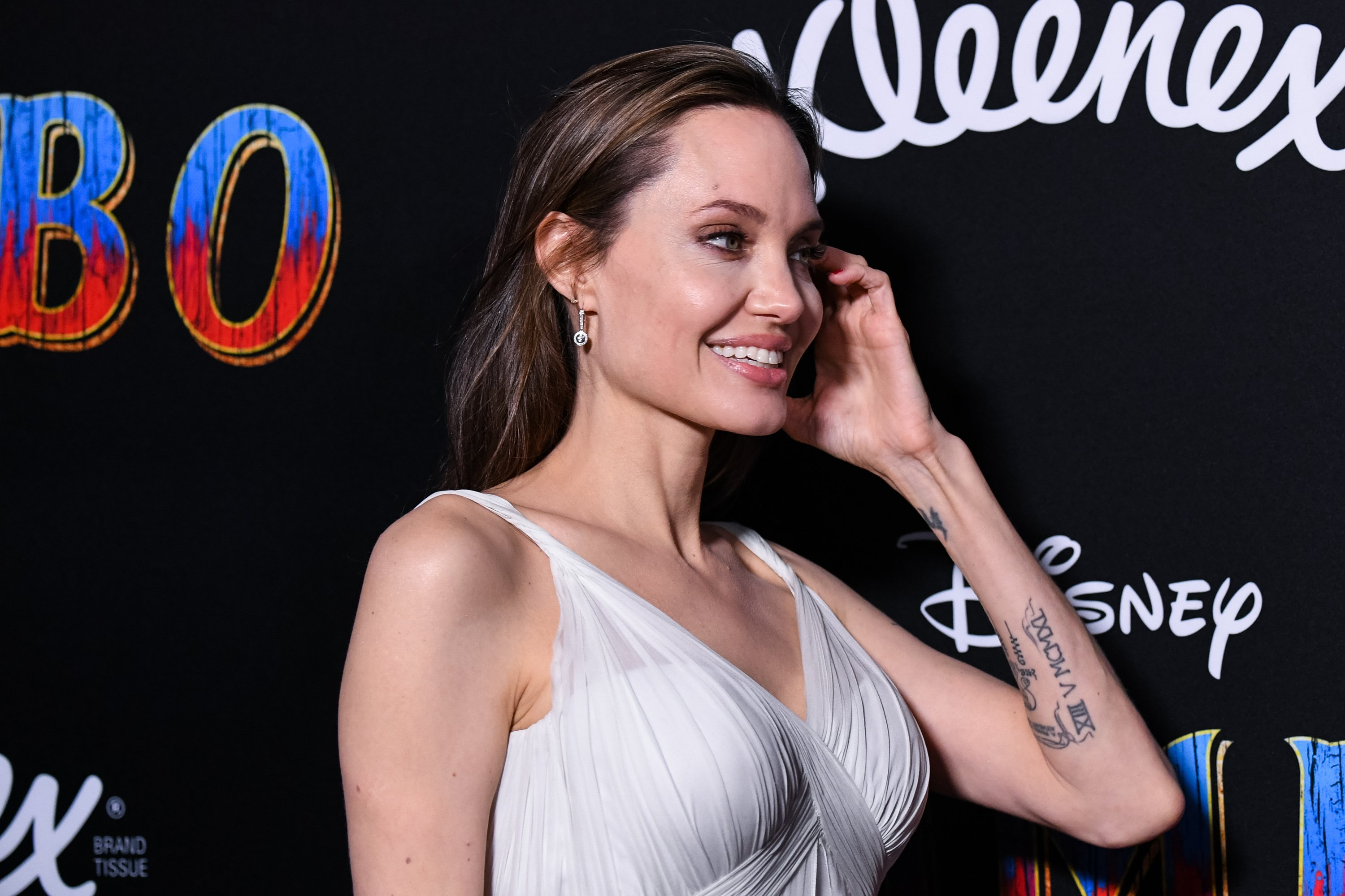 """Angelina Jolie at the premiere of Disney's film """"Dumbo"""" in 2019 in Los Angeles, California. 