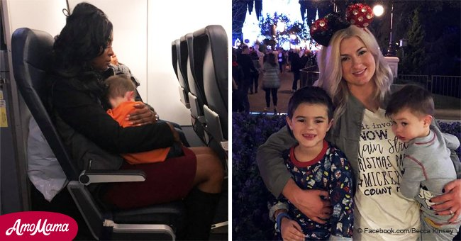'I know how it is!' Woman thanks strangers who helped her as she traveled alone with two kids