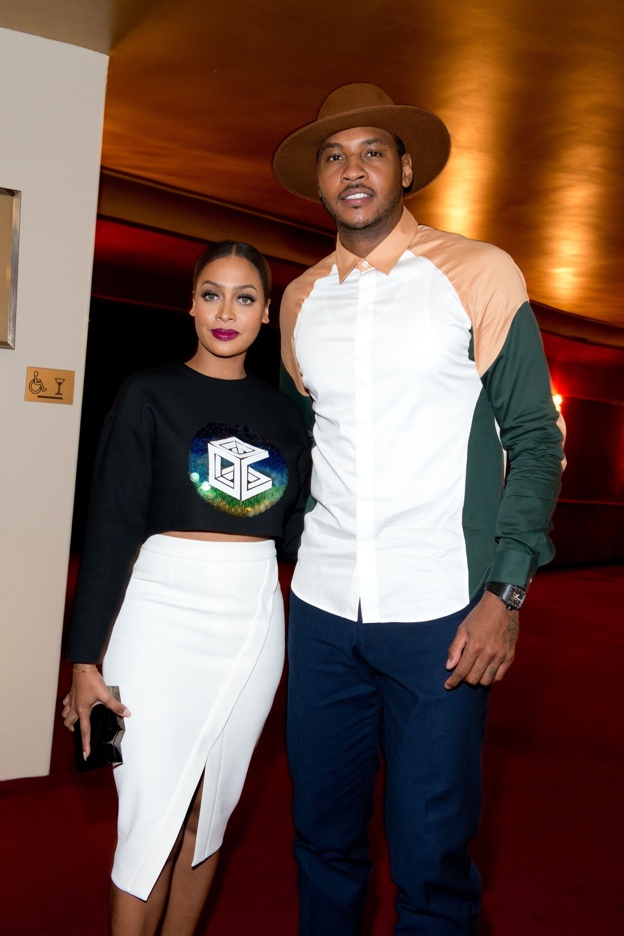 La La Anthony and Carmelo Anthony at the Mercedes-Benz Fashion Week Spring 2015 on September 7, 2014 in New York. | Photo: Getty Images