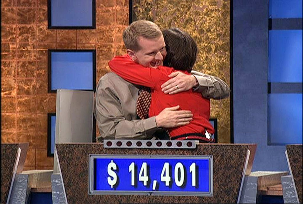 Ken Jennings hugs Nancy Zerg after losing to her during a taping of the game show Jeopardy  | Getty Images