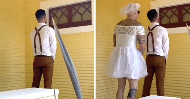 """Groom gets ready for the """"first-look"""" and faces a wall as he waits for his bride but his groomsman is sent in her place as a prank 