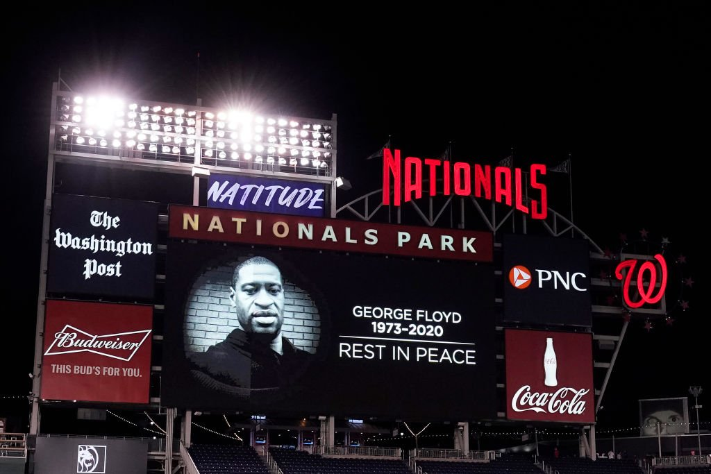 An image honoring George Floyd is shown on the scoreboard after a game between the St. Louis Cardinals and Washington Nationals at Nationals Park on April 20, 2021 | Photo: Getty Images
