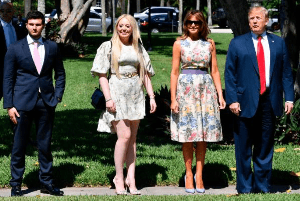 President Donald Trump, Melania Trump, his daughter Tiffany Trump and her boyfriend Michael Boulos arrive at the Bethesda-by-the-Sea church for Easter services in Palm Beach, Florida on April 21, 2019 | Source: NICHOLAS KAMM/AFP via Getty Images