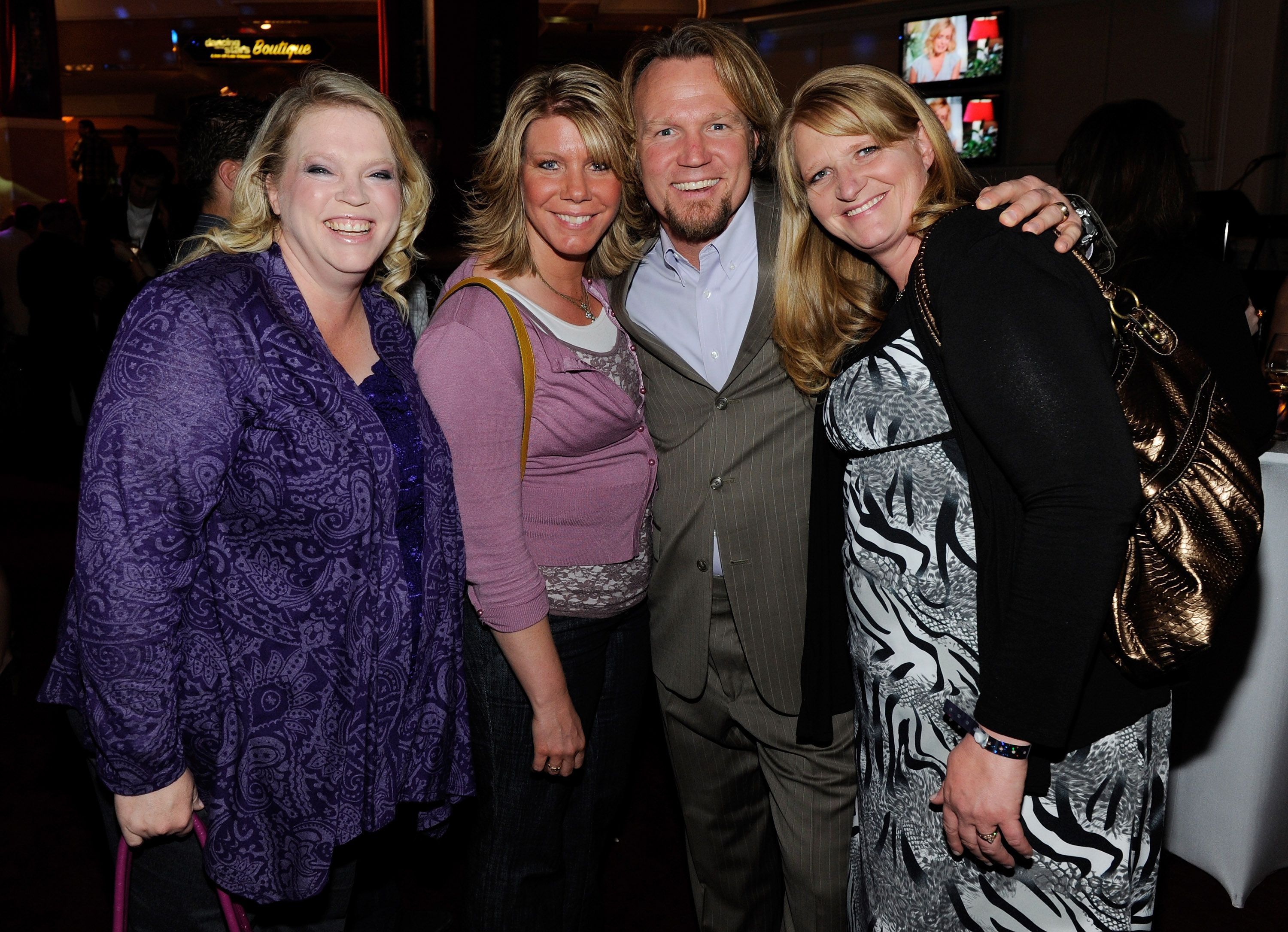 """Janelle Brown, Meri Brown, Kody Brown and Christine Brown from """"Sister Wives"""" at a pre-show reception for the grand opening of """"Dancing With the Stars: Live in Las Vegas"""" at the New Tropicana Las Vegas April 13, 2012 