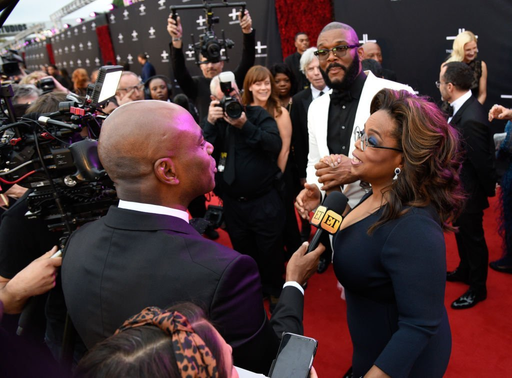 Oprah Winfrey and Tyler Perry during an interview at the opening gala of Tyler Perry Studios on October 5, 2019. | Photo: Getty Images