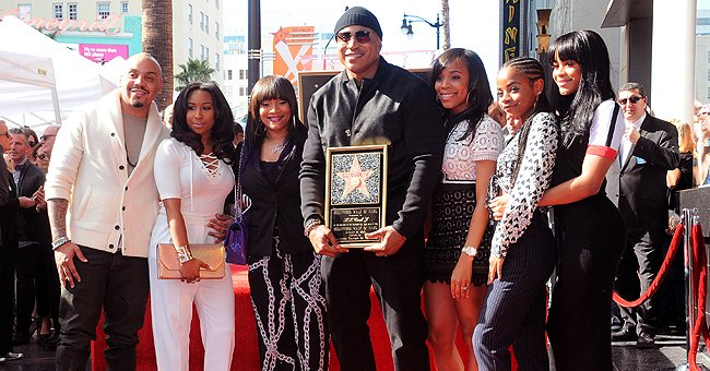 LL Cool J Poses during Hollywood Walk of Fame Ceremony with His Wife & 4 Kids in an Old Photo