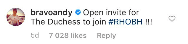 Andy Cohen's comment on the Duke and Duchess' post | Source: Instagram/sussexroyal