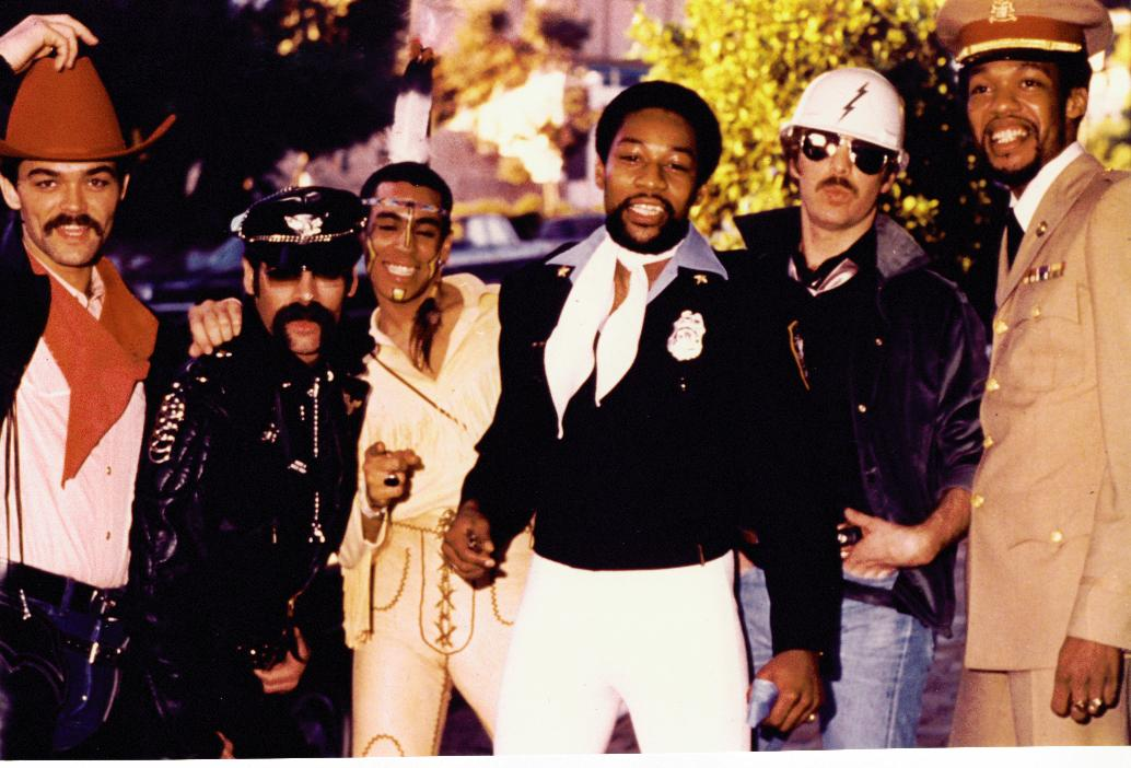 Original members of the disco group Village People with lead singer Victor Willis, 1978.   Photo: Wikimedia Commons Images