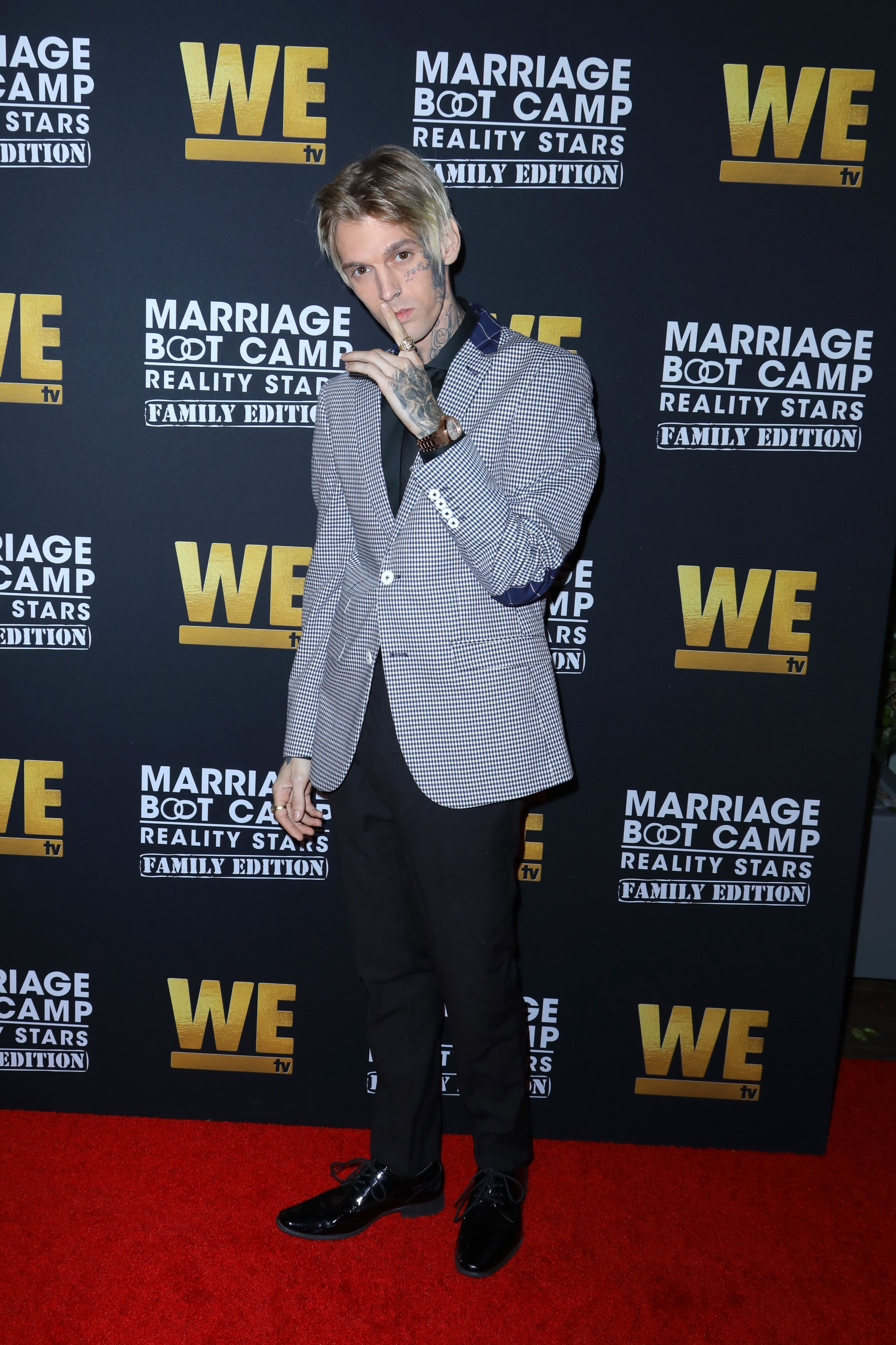 "Aaron Carter at the premiere of ""Marriage Boot Camp"" in 2019 in West Hollywood 