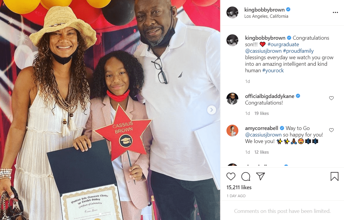 Bobby brown and his wife Alicia take a photo with their son Cassius in tribute to his graduation from sixth grade.   Photo: Instagram/kingbobbybrown