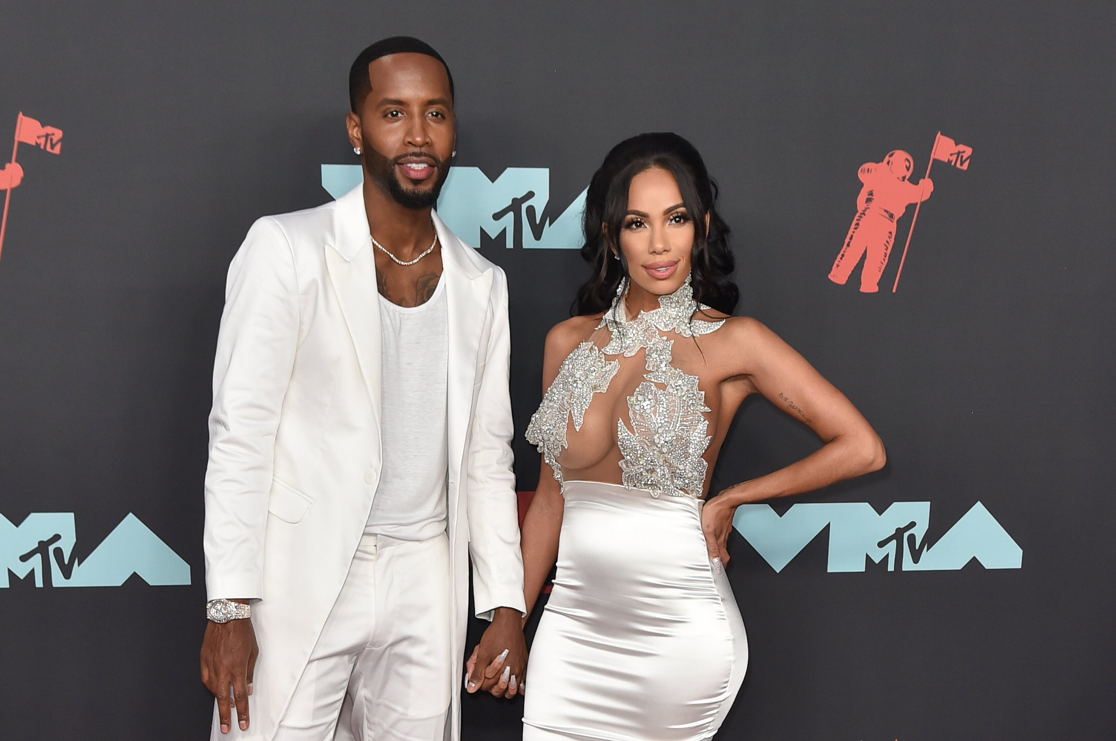 Safaree Samuels and Erica Mena Samuels at the 2019 MTV VMAs red carpet at Prudential Center on August 26, 2019 in Newark, New Jersey.| Source: Getty Images