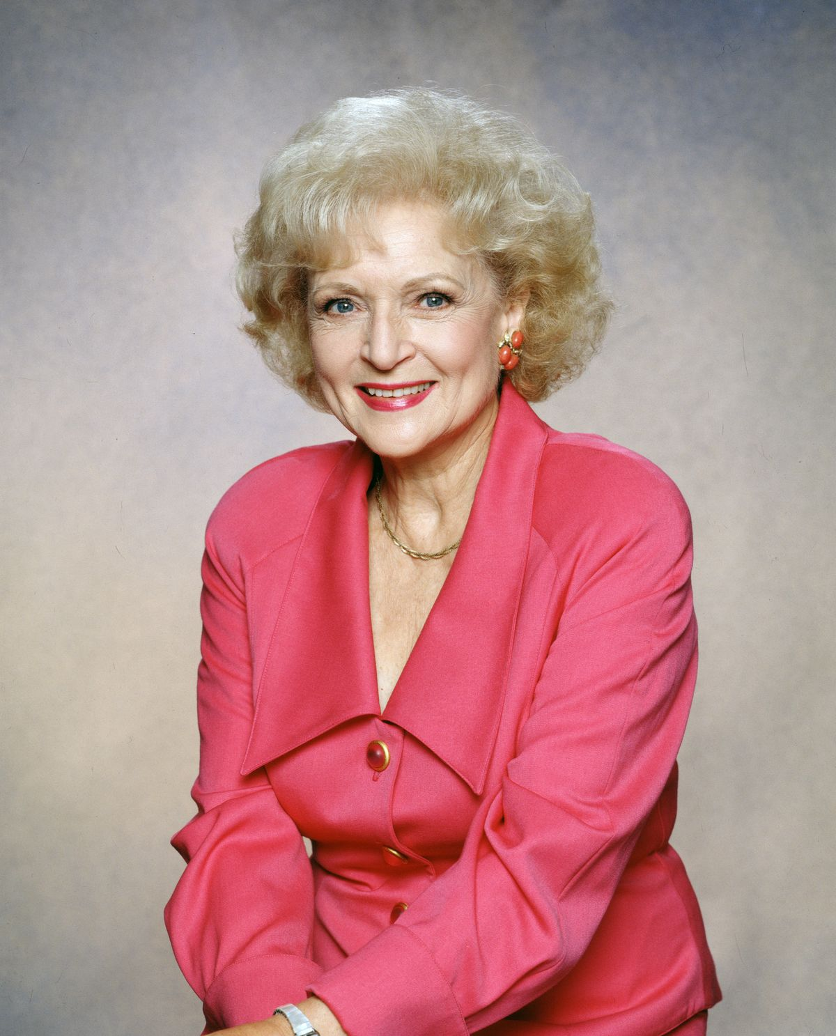 """Betty White poses for a photo as Rose Nylund in """"The Golden Palace"""" on January 1992.   Photo: Getty Images"""