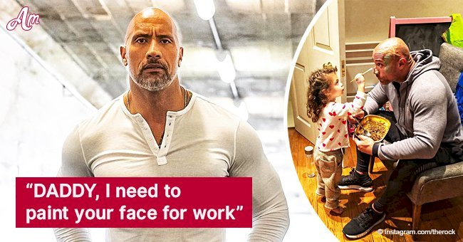 Dwayne Johnson lets little daughter paint his face, unable to resist her charming cuteness