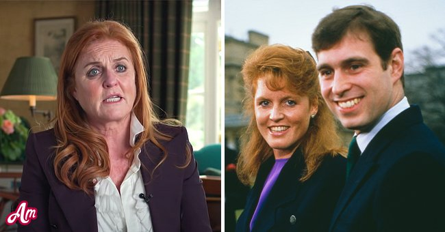 Photo of an older Sarah Ferguson and photo of Sarah Ferguson with Prince Andrew   Photo: youtube.com/People, Getty Images