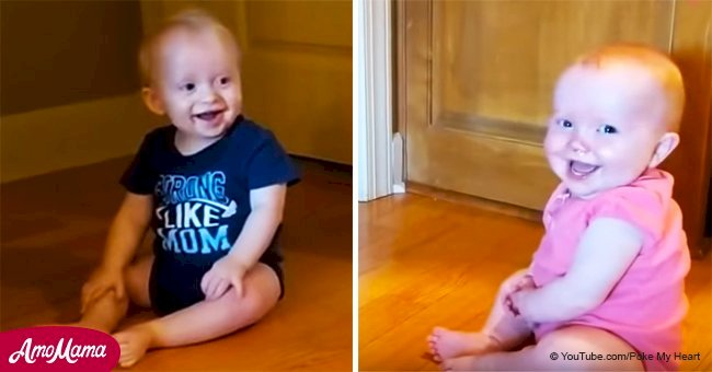 Giggling toddlers made father burst with laughter after one of them changes position